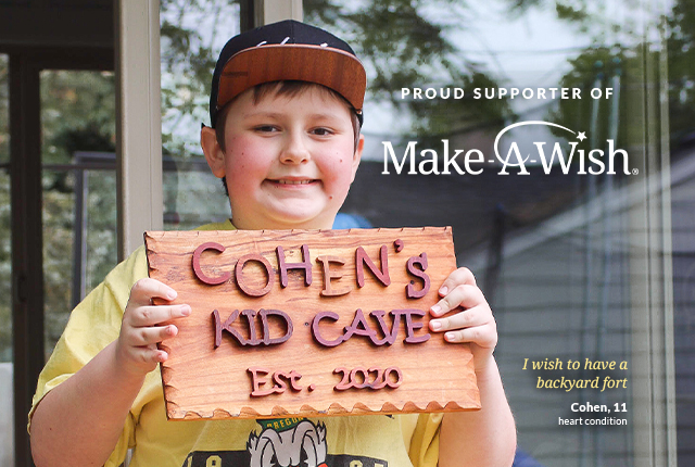 Cohen, aged 11, has a heart condition. He's a Make-a-wish recipient.